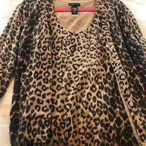 Leopard print cami / cardigan set